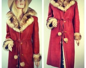 Suede Shearling  like Coat Jacket with faux Fur trim