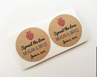Strawberry Jam Wedding Mason Jar Labels / Stickers / Wedding Favors / Thank You Gifts / Once Upon Supplies