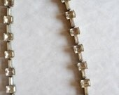 Vintage 1920's stamped sterling silver Art Deco rhinestone paste geometric gem necklace choker