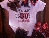 Its All AbOUt Football - Applique Ruffle Bottom Bodysuit, Bow and Leg Warmer Set