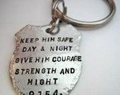 Police Prayer Badge Keychain Officer Law Enforcement Cop Sheriff Deputy State Trooper
