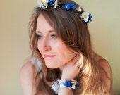 Floral Corsage, flower corsage, floral bracelet, flower bracelet, anklet, cuff blue white, Silk Flowers - 'Forget Me Never Bracelet''