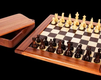 Solid wooden chess set.