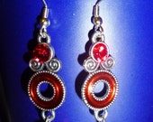 Red Swirl and Circles metallic dangles and glass bead earrings