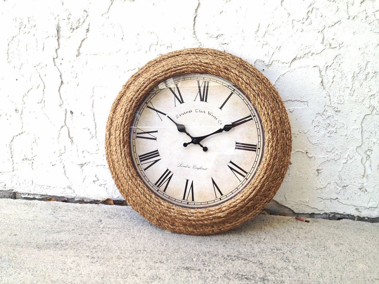 sale 20 manila rope clock coastal decor beach chic. Black Bedroom Furniture Sets. Home Design Ideas
