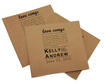 Rustic Wedding Favors, Rustic CD covers,Rustic Wedding CD Cover Favors, Kraft CD Covers, Kraft Disc Covers Set of 20