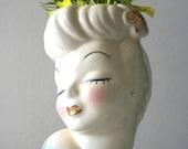 Vintage Ceramic Bust / Planter / Vase // Retro Female Bust // Hollywood Regency Home Decor
