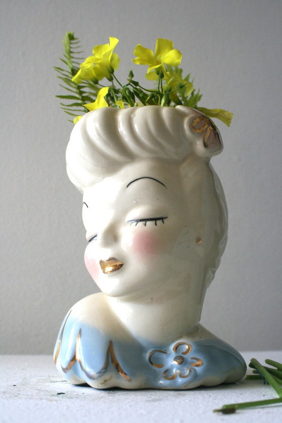 Vintage Ceramic Bust Planter Vase Retro Female Bust