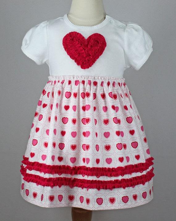 valentine t shirt dress girl ruffle heart pattern rosette baby onesie toddler ruffled rosette