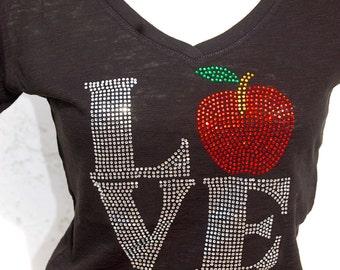 Rhinestone Bling Teacher apple gift Bling Shirt- Team, School, and Spirit Apparel