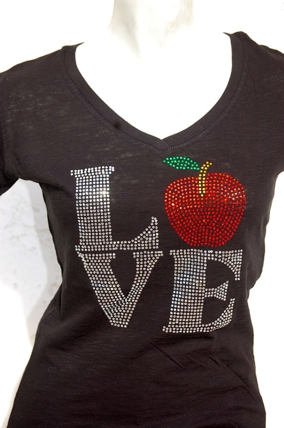 Rhinestone Bling Teacher Apple Gift Bling Shirt By Blingnink