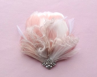 Bridal feather headpiece, Practically Perfect wedding hair accessories, blush pink & white feathers,  bridal feather fascinator, Style 216