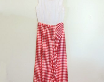 1970s Maxi Dress - Red Gingham Skirt and Pink Striped Top