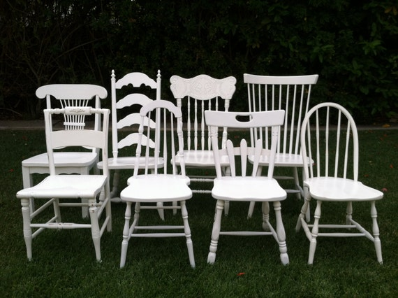 Farmhouse Chairs Set of 6 Dining Chairs White by ThePaintedLdy