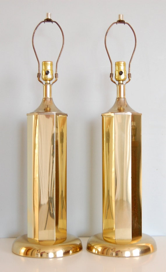Pair of Vintage Hollywood Regency Gold Table Lamps