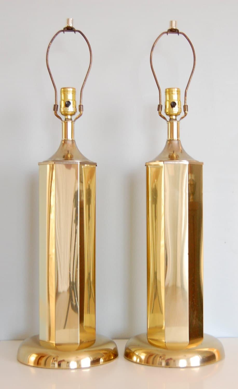 pair of vintage hollywood regency gold table lamps. Black Bedroom Furniture Sets. Home Design Ideas
