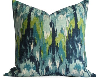 Ikat Pillow Cover in Teals - Same Fabric BOTH Sides - INVISIBLE Zipper  - 18x18, 20x20 & lumbar sizes