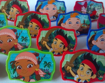 24 Jake & Neverland Pirates Izzy Cubby cupcake rings picks cake toppers for pirate birthday party treat bag favors, captain hook, peter pan