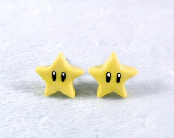 Super Mario Invincibility Star Post Stud Earrings, Power Up, Cute, Kawaii :D Choice of Sterling Silver Posts