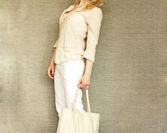Ecru Shopper Tote Bag Leather shopper bag