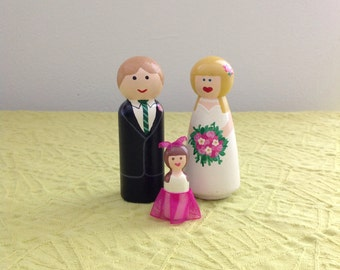 Little Family Couple and Child Handpainted Keepsake Cake Topper Customizable Unique Detailed