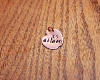 Apple handstamped copper jewelry, Teacher jewelry, Teacher gift
