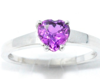 1 Carat Amethyst Heart Ring .925 Sterling Silver Rhodium Finish White Gold Quality