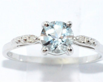 1 Ct Natural Aquamarine & Diamond Round Ring .925 Sterling Silver Rhodium Finish