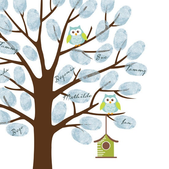 owl thumbprint tree guest book poster printable baby shower