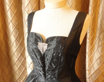 50s Dress // Vintage 1950s Black Organza Party Dress with Full Skirt by Gigi Young Originals Size M