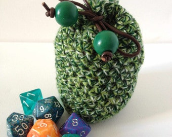 Green Dice Bag, Small Crochet Purse, Small Green Pouch, Hand Crochet Green Bag, Small Green Bag, Small Yarn Bag, Green Bag of Holding