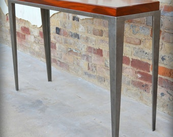 Industrial Hall Table / Sofa Table / Entry Table in Steel and Solid Mahogany / Imported Hardwood