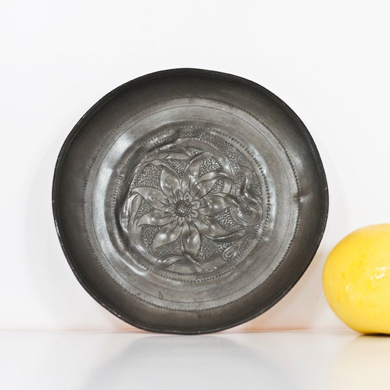 Antique Pewter Plates : Antique pewter plate german decorative relief probably