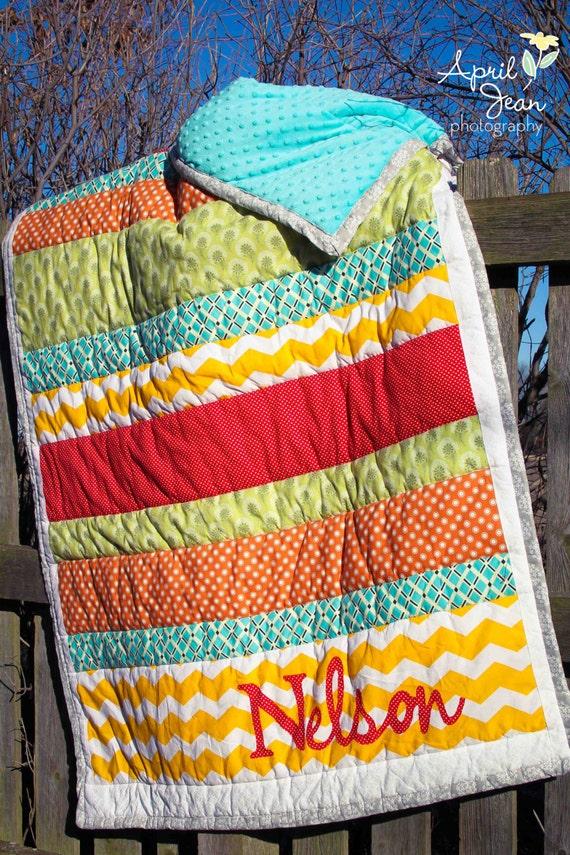 Wedding Gift Quilt : ... Wedding Quilt / Housewarming Gift - Stripe Applique Family Quilt