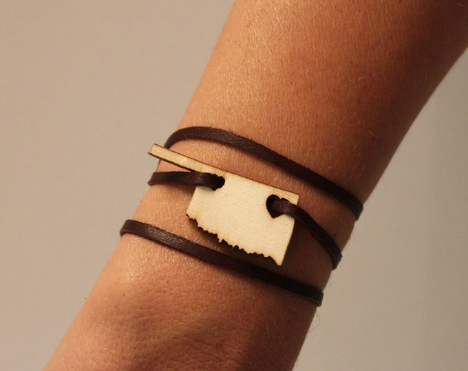 Oklahoma Leather Wrap Bracelet