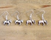 Cute Elephant & Zebra Earrings - Silver Plated Charms - Pretty Animal Jewellery - Under 10 Dollars / Under 10 Pounds