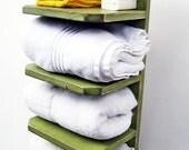 Bath Towel Holder - Bathroom Decor - Wood Towel Rack - Shabby, Cottage Chic Finish - AVOCADO GREEN