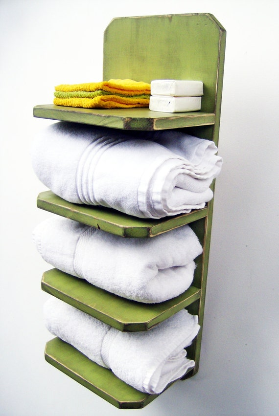 Decorative Bathroom Towel Storage : Items similar to bath towel holder bathroom decor wood