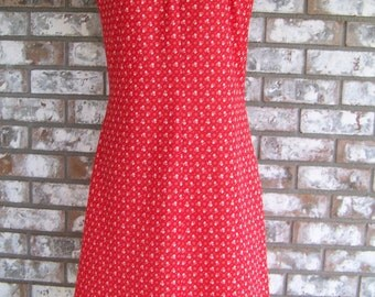 Vintage 1960's MOD Polyester Red Sundress
