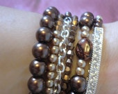 Brown, Gold, and Silver  Arm Party