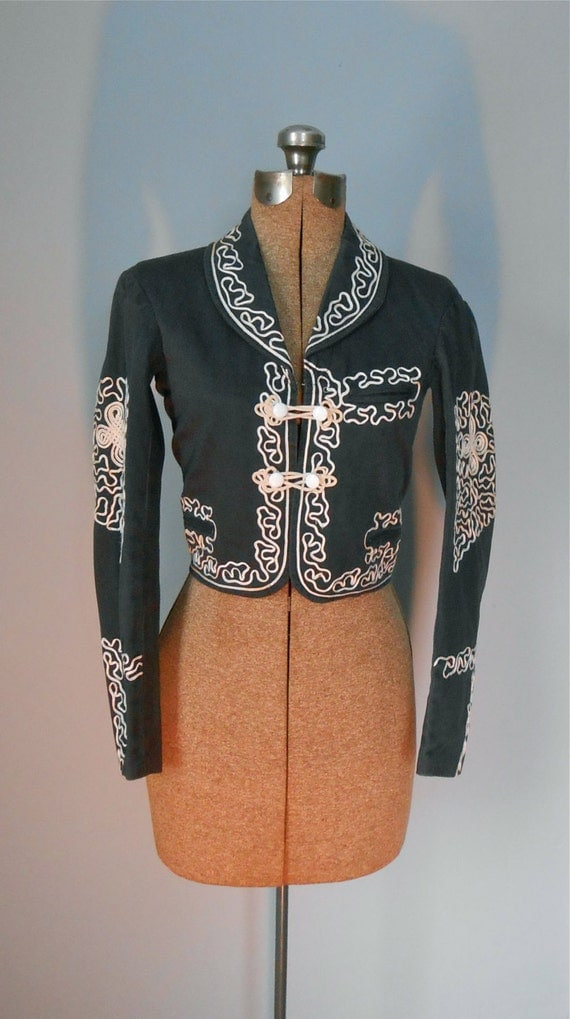 Reserved Matador Bolero Black Jacket With Ecru Cord Applique