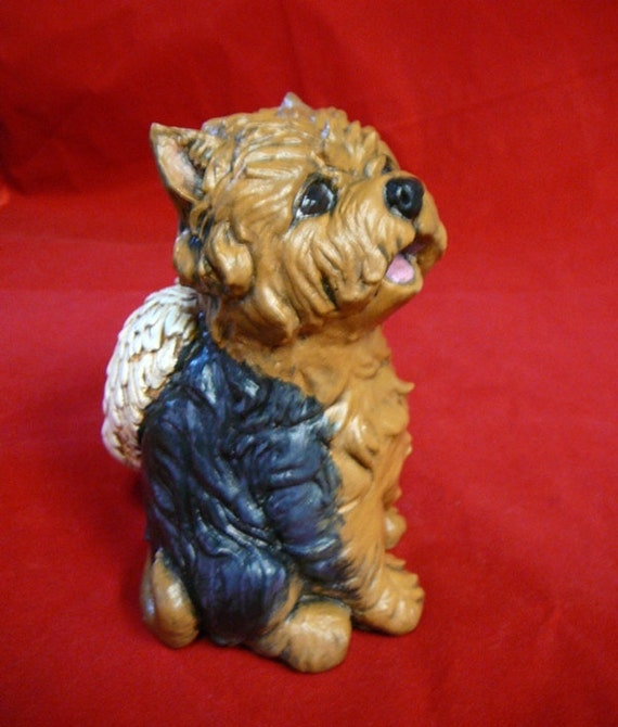 Yorkie Angel Dog 6 Tall Cement Figurine Statue Pet