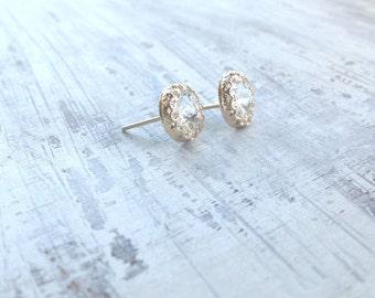 gold earrings crystal stud earrings classic stud earrings wedding swarovski jewelry gold filled earrings 6100