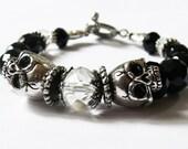 Black Skull Bracelet 'La Mort glamourous' (Glamorous death)(Black, Silver, Life and death, Crystal, Glam, Goth)