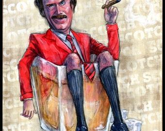 "Anchorman Art Poster Print - Will Ferrell Art - Ron Burgundy - Movie Art - Funny Art - ""Scotch Scotch Scotch"" by Black Ink Art"