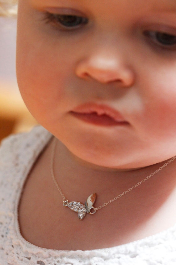 child necklace butterfly necklace baby necklace