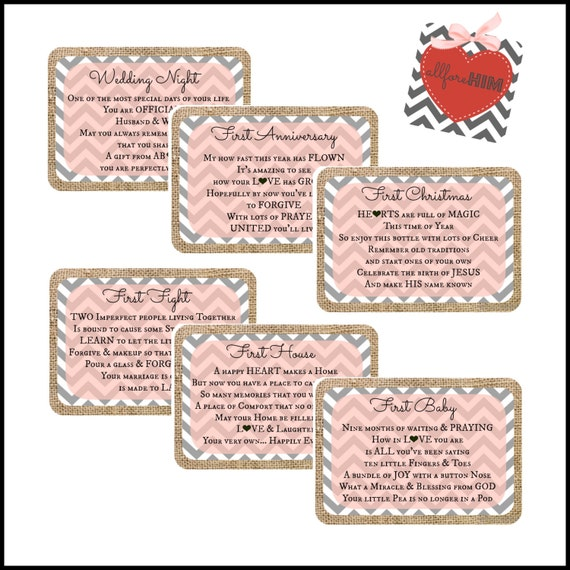 INSTANT DOWNLOAD - Bridal Shower Burlap Wine Basket Gift Tags - Peach ...