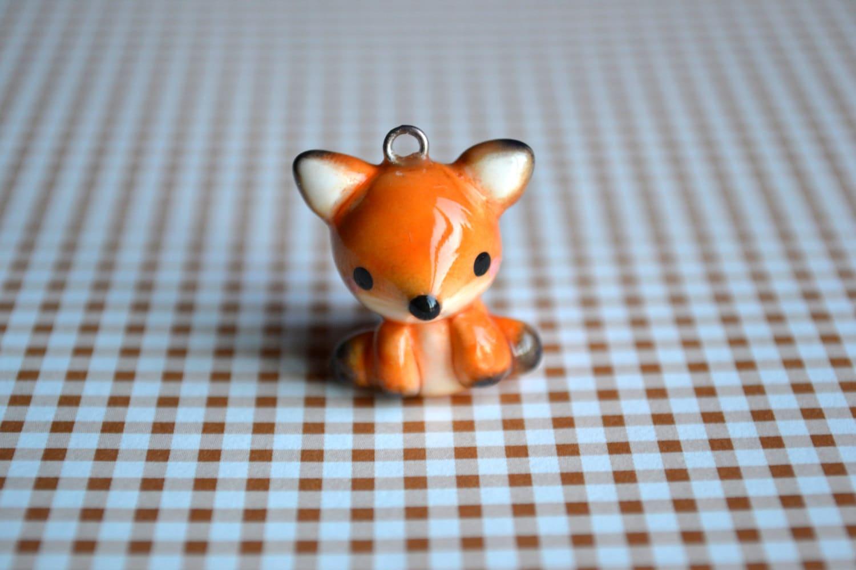 Orange Fox Animal Charm Kawaii Polymer Clay