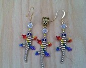 """EQUALITY IS GOLDEN- Small """"Lucky Lizard"""" Gold & Rainbow Jewelry Set w/ Gold Plated Hanging Earrings and Matching Pendant on A Gold Tone Bail"""