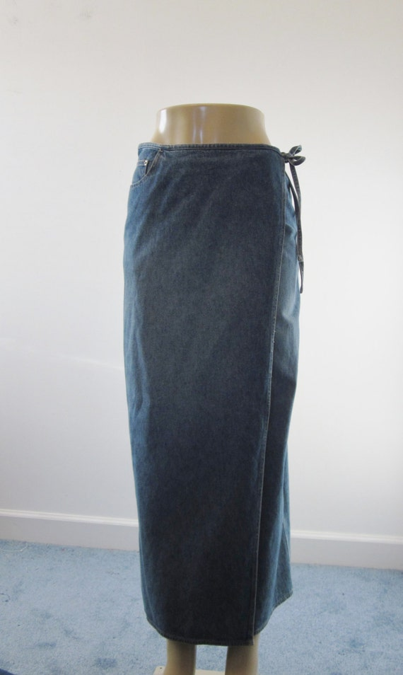 Vintage Long Denim Skirt Wrap Around Maxi by MarjoriesMemories